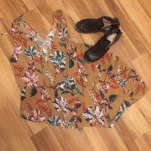 Dresses & Skirts - And Away Tan Dress with Floral Print